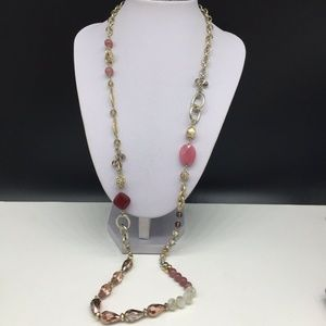 Ann Taylor Loft Pink Beaded Rhinestone Necklace